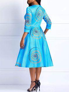 african dress styles Ericdress African Fashion Ankara Color Block A-Line Dress 13541173 - African Dresses For Kids, African Fashion Ankara, African Dresses For Women, African Print Dresses, African Print Fashion, Casual Dresses For Women, Clothes For Women, Shweshwe Dresses, Curvy Dress