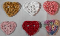 Crocheted Heart Appliques for Your Valentine Day by elmstcreations, $4.00