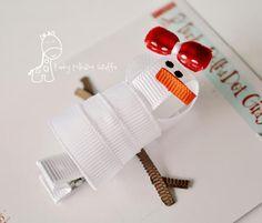snowman hair clip tutorial