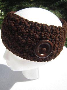 Brown Headwarmer, Textured Crocheted Brown Earwarmer, Winter Wear, Dark Brown Headband by Charlene by crochetedbycharlene on Etsy