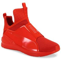 PUMA Fierce Core Ariaprene High-Top Sneakers (£76) ❤ liked on Polyvore featuring men's fashion, men's shoes, men's sneakers, apparel & accessories, red, mens rubber slip on shoes, mens red sneakers, mens slip on shoes, mens high top shoes and mens training shoes