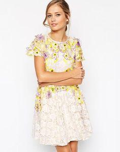 ASOS SALON Applique Petal Lace Skater Dress at asos.com #a-linedress #offduty #women #covetme