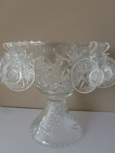 14 pc. Punch Bowl set with Stand Pedestal / Anchor Hocking Star Fan / Vintage 60s Serveware by Feisty Farmers Wife £40.71