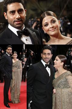 Aishwarya Rai in a sari designed by Sabyasachi Mukherjee with Abhishek Bachchan at Cannes Festival 2010
