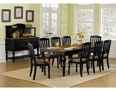 Cottage Style. With its striking turned legs and weathered finishes, the Castleton collection is a welcome addition to your home. This charming group includes a farmhouse-style table with an extension leaf to accommodate large gatherings as needed. The combination of a chocolate wood finish on the spindle legs and acacia veneers on the expansive tabletop creates a lovely two-tone effect. Comfortably padded slat-back chairs complete the casual country look.