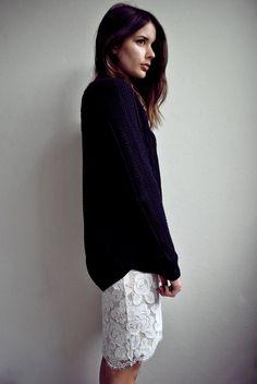 oversize knit + lace under