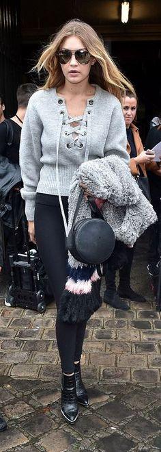 Gigi Hadid: Sweater – Isabel Marant Poncho Purse – Rag & Bone