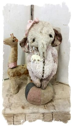 "Wee Shabby Little chubby design size aged elephant handmade by Wendy Meagher of Whendi's Bears *** Aprrox. 5.5"" Tall - Antique Shabby..."