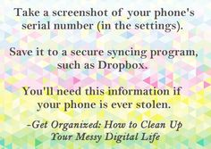 How to protect your phone in case of theft or loss -- Tips for organizing your digital life