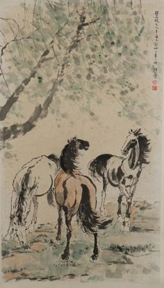 Chinese Painting of Horses Signed Xu Bei Hong : Lot 67