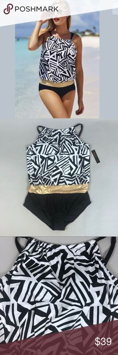 Swimsuits For All Luxe Blouson Swimsuit NWT Swimsuits for All Tropiculture Luxe Blouson Swimsuit Women's Size 18 // One-Piece  Black and white geometric print with gold metallic band.  Bust is padded and wire-free.  Style# 131105  See measurements to ensure a proper fit.