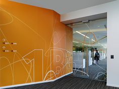 Novo Nordisk North American Headquarters Environmental Graphics & Branding by Poulin+Morris Office Wall Graphics, Floor Graphics, Environmental Graphic Design, Environmental Graphics, Corporate Interiors, Office Interiors, Morris, Communication, Wayfinding Signage