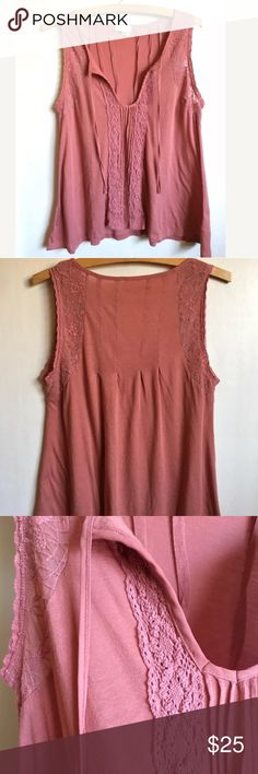 """Anthropologie Meadow Rue Pink Laced Tie-Neck Tank • Anthropologie Retail $68 • Super cute Meadow Rue tie-neck tank. Very pretty lace detail. Perfect for a date night! • Size: M • Condition: Excellent! Nearly New! Worn once or twice! Still in amazing condition!  • Measurements:  Armpit to Armpit: 17"""" Length: 24""""  If you have any questions, please message me!  Please follow me and check out my other items! Thank you for shopping! Anthropologie Tops Blouses"""