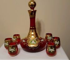 Venetian Glass Ruby Red Wine Musical Decanter 6 Glasses Gold Leaf Enamel