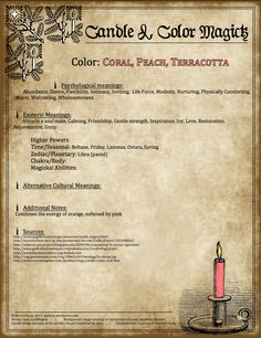Coral/Peach/Terracotta Candle Magick Poster by Endora J. 19 of 23.