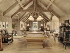 Billiards room in a home incorporated into a working barn. [1280...