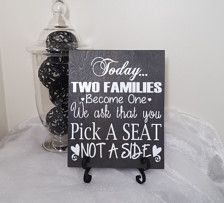 Today Two Families Become One We Ask That You Pick A Seat Not A Side Wedding Sign, Wedding Reception Sign, Wedding Seating Sign -- You can find out more details at the link of the image. Wedding Seating Signs, Wedding Reception Signs, Wedding Ideas, Glitter Table Numbers, Pick A Seat, Wedding Photo Props, Witch Decor, Wedding Shirts, Arrow Design