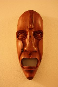 Cherokee mask.  Joshua Adams.  woodcarving.