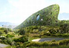Futuristic living wall hotel