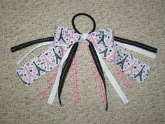 """NEW """"PARIS CHIC"""" Pony Tail Bows Pony-O Girls Ribbon Hair Bows Cheer Streamers Eiffel Tower France French"""