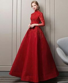 A Line Party Dress, long sleeve Prom Dress, lace Prom Dress, high neck evening dress,Custom Made - - Burgundy Evening Dress, Long Sleeve Evening Dresses, Prom Dresses Long With Sleeves, A Line Prom Dresses, Blue Evening Dresses, Tulle Prom Dress, Ball Gown Dresses, Formal Dresses, Dress Long
