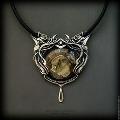 Купить серебряное колье с жеодой Каменный век - серебряный, серебряное колье, колье серебро