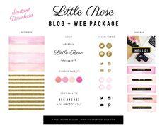 INSTANT DOWNLOAD- Little Rose Blog + Web + Logo Branding Package