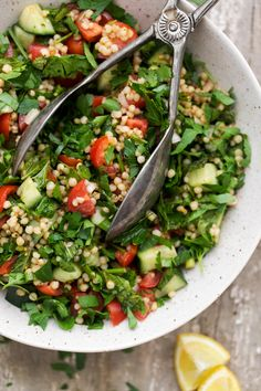 An alternative-grain take on the classic tabouli salad featuring cooked sorghum, cucumbers, tomatoes, parsley, and mint. A perfect summer salad.