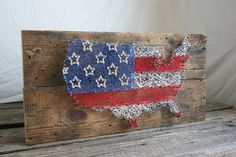 """String Art 24""""x12"""" United States Map with American Flag Design"""