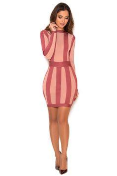 Clothing : Bandage Dresses : 'Solada' Rose Pink Striped Bandage and Sheer Mesh Dress