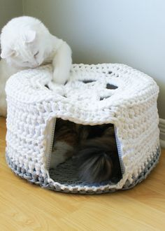 Ravelry: Chunky Tshirt Yarn Pet Cave pattern by Erin Black. Don't want to make your own yarn? Try Lion Brand Fettuccini!