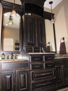 Black Distressed Cabinets In The Kids Bathroom