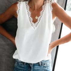 Athleisure Sleeveless Lace Pure Colour V Neck Tank Vest Top - Women's style: Patterns of sustainability Athleisure, V Neck Tank Top, Loose Sweater, Top Pattern, Sleeve Pattern, Casual Tops, Casual Shirts, Fashion Outfits, Fashion Tips