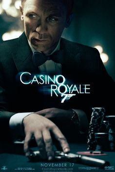 Casino Royale, starring Daniel Craig as James Bond, Eva Green, Dame Judi Dench and Jeffrey Wright. Directed by Martin Campbell Film Casino, Casino Royale Movie, James Bond Casino Royale, Casino Games, Tulalip Casino, Play Casino, Best James Bond Movies, James Bond Movie Posters, Great Films