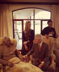 Former US president Bill Clinton has paid former president Nelson Mandela a visit at his home in the Eastern Cape village of Qunu. See the pictures. Lightning Strikes, Nelson Mandela, Inspiring People, Us Presidents, 2000s, Trumpet, Saint, South Africa, How To Memorize Things