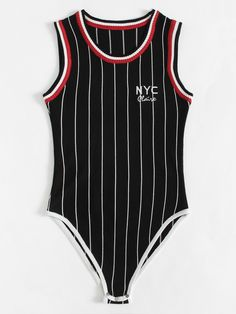 Shop Letter Embroidered Striped Bodysuit at ROMWE, discover more fashion styles online. Cute Nike Outfits, New Outfits, Trendy Outfits, Fashion Outfits, Girls Crop Tops, Full Body Suit, Penelope, Body Suit Outfits, Striped Bodysuit