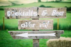 fun wooden wedding signage with Cocktails and Beer Over 'Ere!  www.onefabday.com