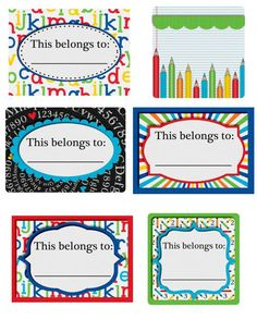 Back to School Printable This belongs to: Labels, perfect for sticking on all of your kids school supplies, binders, notebooks, folders, everything that needs a label!