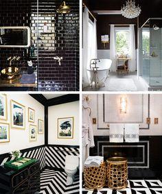 Gold ceiling black and white bathroom | Atlanta House | Pinterest ...