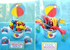 Pool party ideas - Twizzler noodles and beach ball cake balls