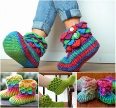 Crocodile Stitch Slippers and Booties--free patterns ༺✿ƬⱤღ http://www.pinterest.com/teretegui/✿༻
