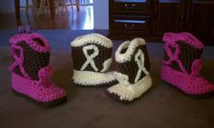 The first two sets of Crocheted Baby Booties that I made.