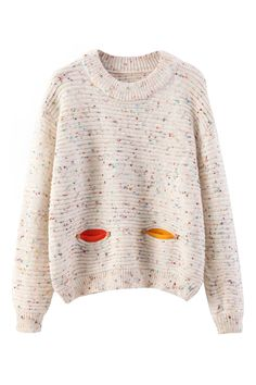 Pocketed Owl Knitted White Jumper