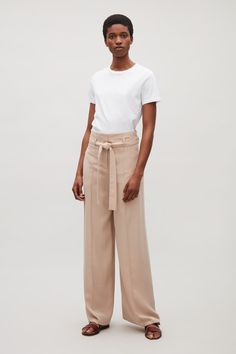COS image 6 of Belted high-waist trousers in Khaki Beige
