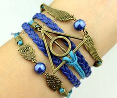 bronze harry potter bracelet wings bracelet cute owl by handworld, $5.99