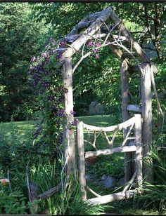 Rustic arbor for a naturalistic garden.