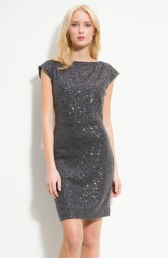 Kenneth Cole #GreyDress (Sequins!) - I love the idea of gray bridesmaid dresses and flowers with a pop of color or my mom could totally rock this