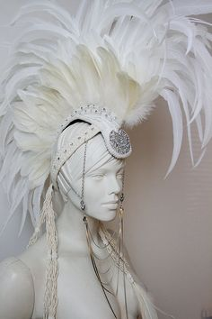 White Diamond Large White Feather Mohawk by TheHatterDesigns