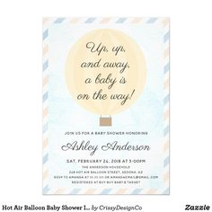Shop Hot Air Balloon Baby Shower Invitation created by CrissyDesignCo. Personalize it with photos & text or purchase as is! Bridal Bingo, Bridal Shower Games, Baby Shower Games, Baby Shower Invitations, Custom Invitations, Party Invitations, Baby Bingo, Whats In Your Purse, Boho Baby Shower