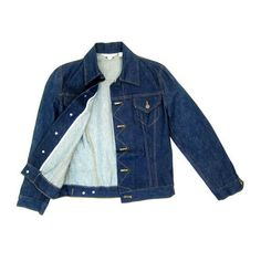 70s 80s Dark Blue Denim Jean Jacket Cropped Button Down Coat Pockets... ($40) ❤ liked on Polyvore featuring outerwear, denim jackets and jean jacket